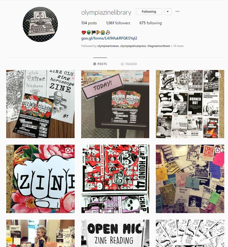 Olympia Zine Library Instagram feed