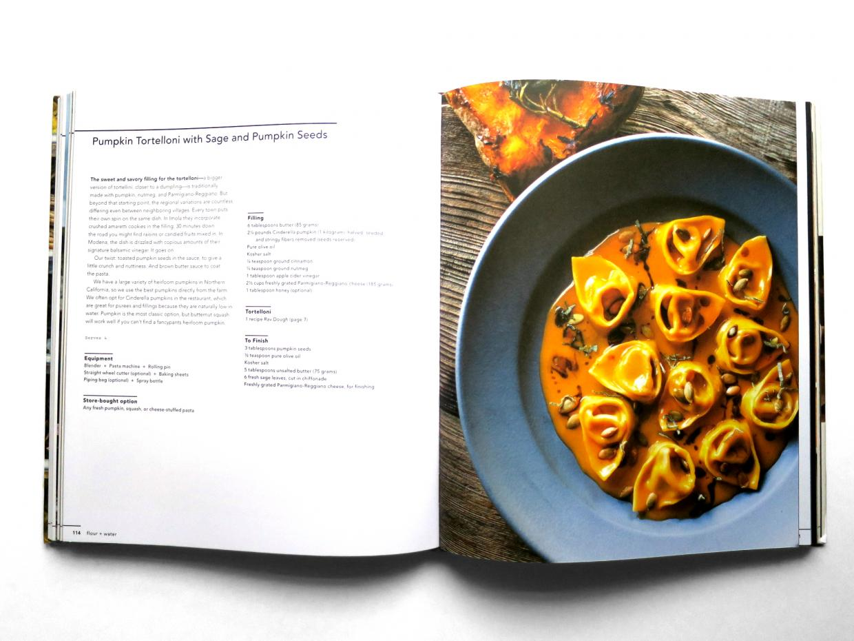 inside page from flour water pasta cookbook